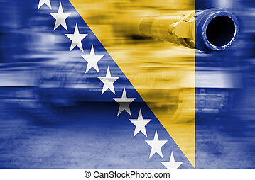 military strength theme, motion blur tank with Bosnia and...