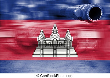 military strength theme, motion blur tank with Cambodia flag