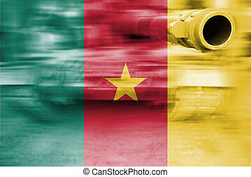 military strength theme, motion blur tank with Cameroon flag