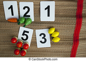 Early math with basic childish numbers wooden toy