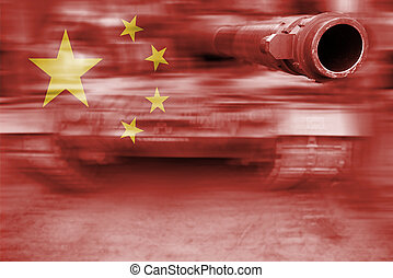 military strength theme, motion blur tank with China flag