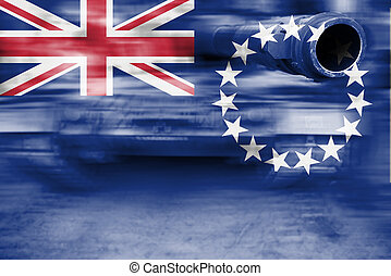military strength theme, motion blur tank with Cook Islands...