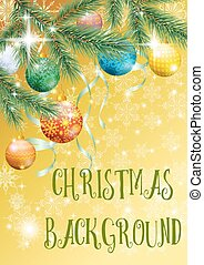 Christmas Background with Fir and Balls - Yellow Background...