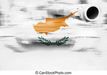 military strength theme, motion blur tank with Cyprus flag