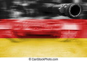 military strength theme, motion blur tank with Germany flag