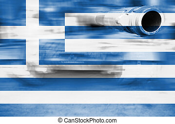 military strength theme, motion blur tank with Greece flag
