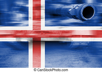 military strength theme, motion blur tank with Iceland flag