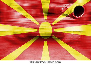 military strength theme, motion blur tank with Macedonia...