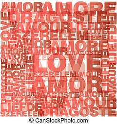 Valentine heart from love words - Seamless pattern made from...