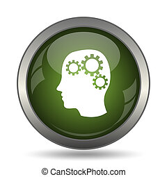 Brain icon Internet button on white background