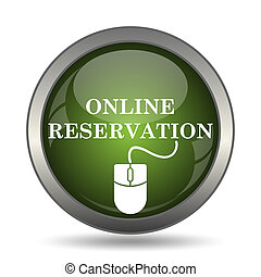 Online reservation icon. Internet button on white...