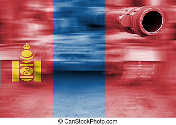 military strength theme, motion blur tank with Mongolia flag