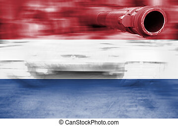 military strength theme, motion blur tank with Netherlands...