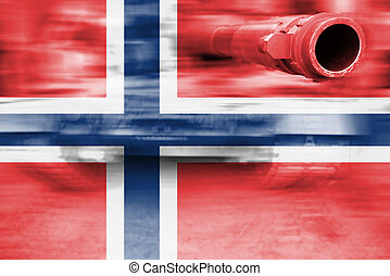 military strength theme, motion blur tank with Norway flag