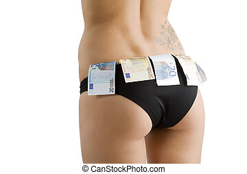 sexy ass and money - close up on a girl ass with black...