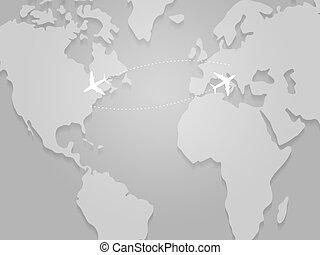 Transatlantic Flight Paths on Map