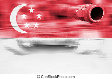 military strength theme, motion blur tank with Singapore...
