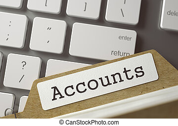 File Card Accounts. 3D - Accounts written on Folder Index on...