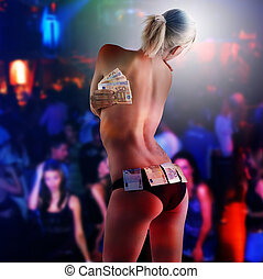 tha sexy stripper with money - beautyful sexy blond girl...