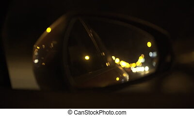 Night drive in mirror