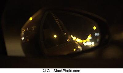 Night drive in mirror - Night drive in side mirror