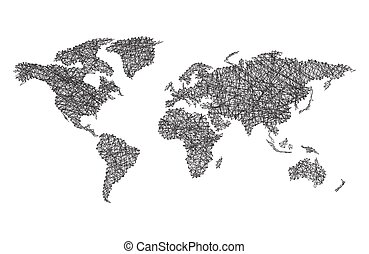 World map with lines