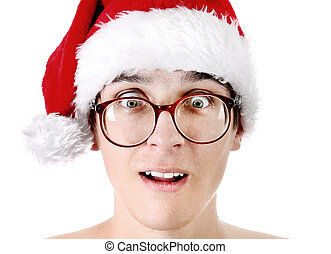 Teenager in Santa Hat - Portrait of Surprised Teenager in...