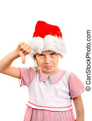 Annoyed Small Girl in Santa Hat make Thumb Down on the White...