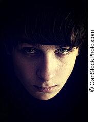 Sad Teenager Portrait - Toned Photo of Sad Teenager Portrait...