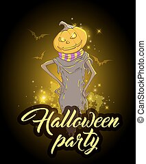 Design for Halloween party with pumpkin