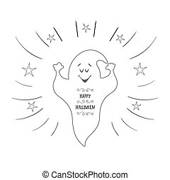 Funny ghost flying. Halloween card. Hand Drawn design element