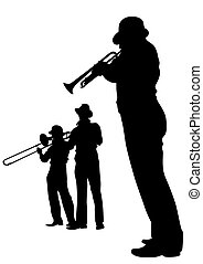 Trumpets and trombone - Concert of jazz music on white...