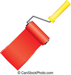 Yellow paint roller brush with red paint, vector...