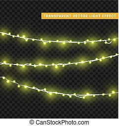 Christmas lights isolated realistic design elements. Glowing...