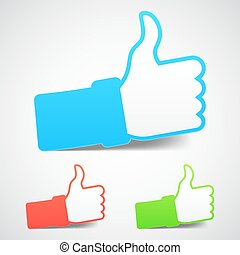 Thumb Up Icons - Set of three thumb up icons with soft...