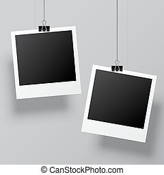 Instant Photo Template - Two blank instant photos hanging on...
