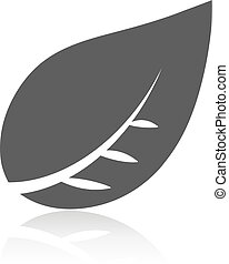 Vector nature symbol, simple leaf with shadow, monochrome...