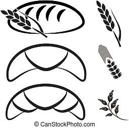 Vector bakery shop symbols. Black simple line icon of...