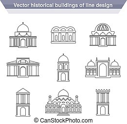 Vector architecture building symbols, historical building,...