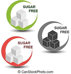 Vector sugar free symbols isolated on white background. Silhouettes cubes of sugar in a circle with shadow.
