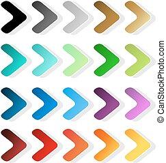 Vector arrow symbols. Black, grey, silver, dark, golden,...
