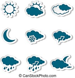 Vector set of white various stickers with dark blue weather...