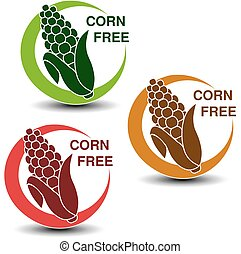 Vector corn free symbols isolated on white background....