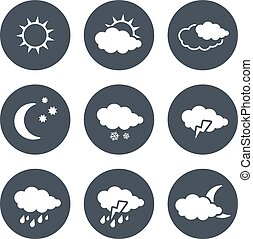 Vector set of grey circular buttons with white weather...