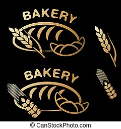 Vector bakery shop symbols. Golden simple icon of croissant, bread and spike grain on black background.