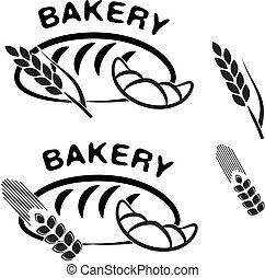 Vector bakery shop symbols. Black simple icon of croissant,...
