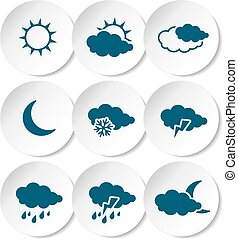 Vector set of white rounded stickers with dark blue weather...