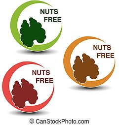 Vector nuts free symbols isolated on white background....