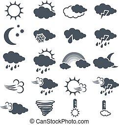 Conjunto, sol, tornado, nieve, tiempo, símbolos, -,...