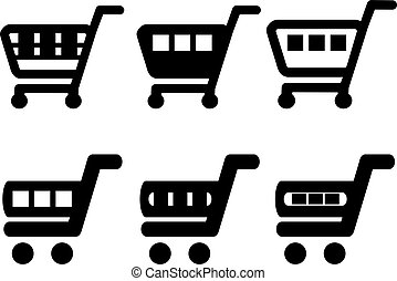 Vector black simple shopping cart, trolley, add to cart item, buy button